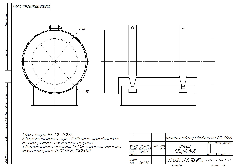 Техническая документация подвижные опоры трубопроводов ГОСТ 30732-2006