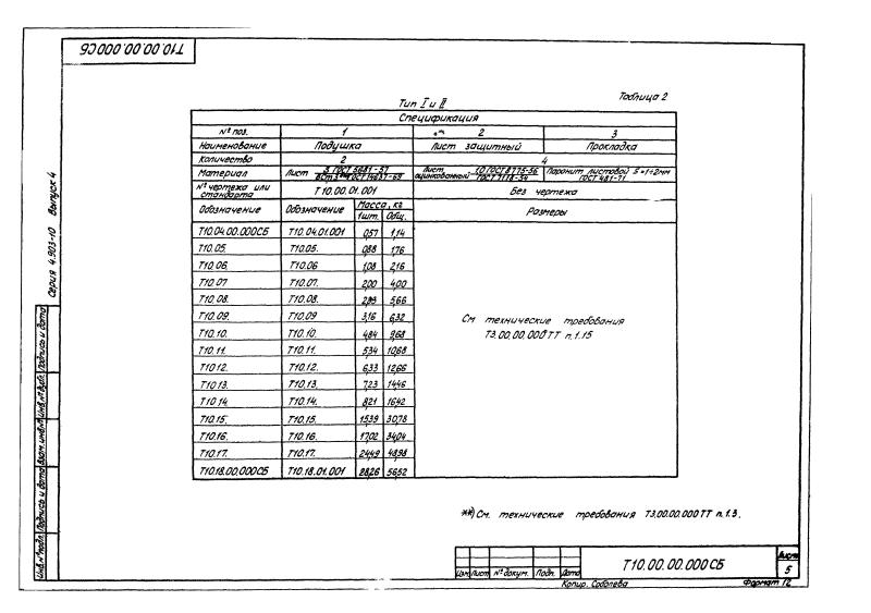 Техническая документация неподвижных боковых опор Т10
