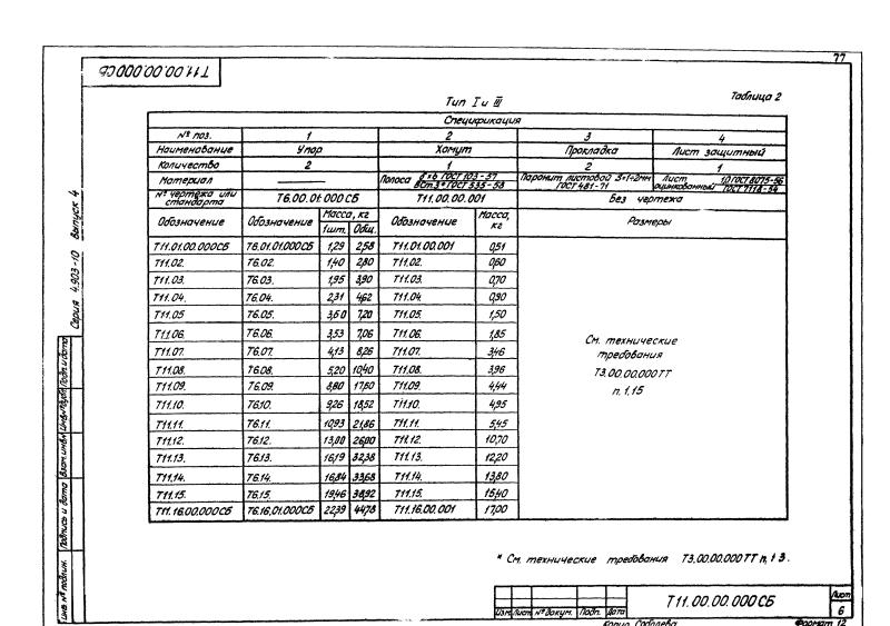 Техническая документация неподвижных хомутовых бескорпусных опор Т11