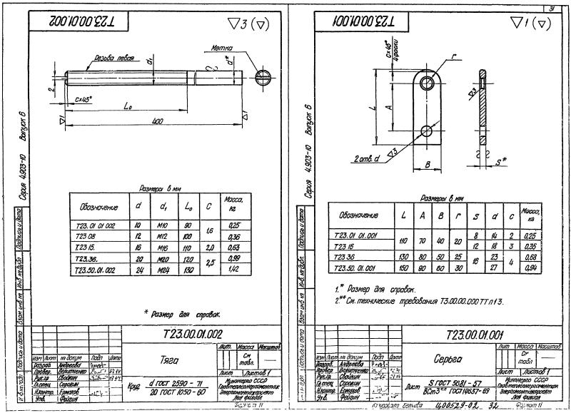 Техническая документация подвесных опор трубопроводов Т23