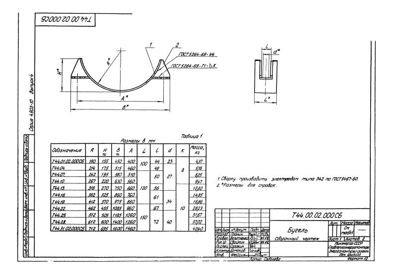 Техническая документация неподвижных бугельных опорх Т44