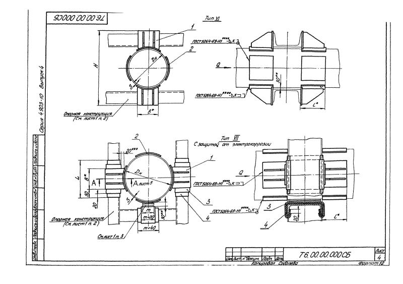 Техническая документация неподвижных опор Т6