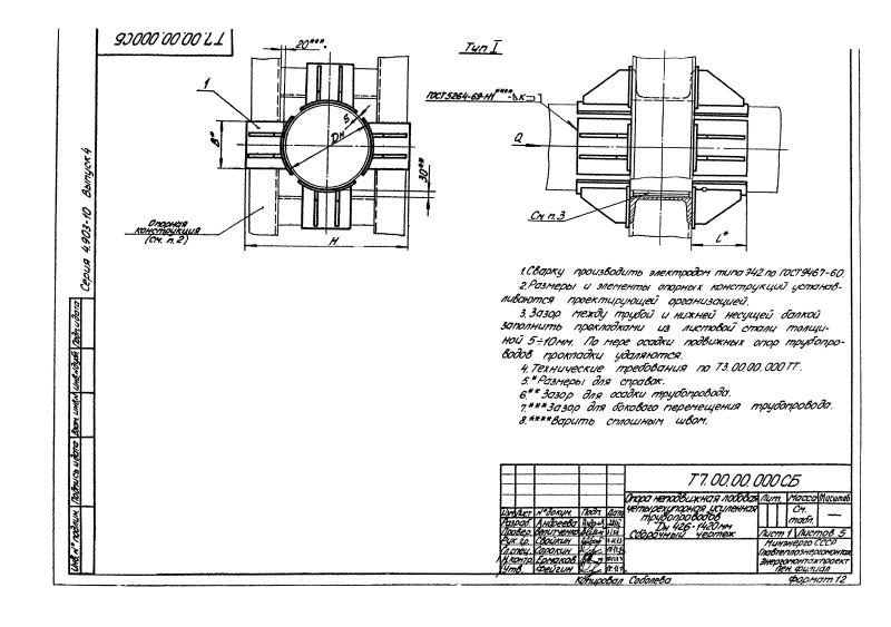 Техническая документация неподвижные опоры Т7
