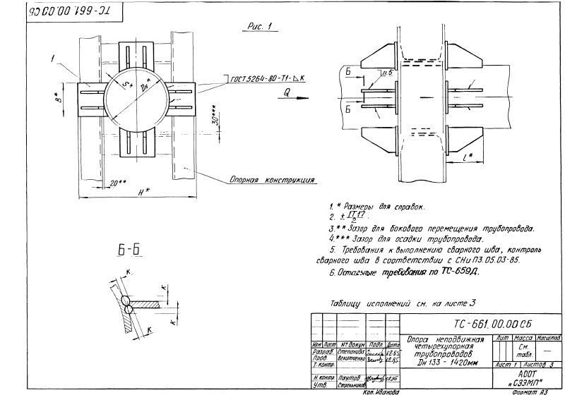 Техническая документация опор неподвижных четырехупорных ТС-661