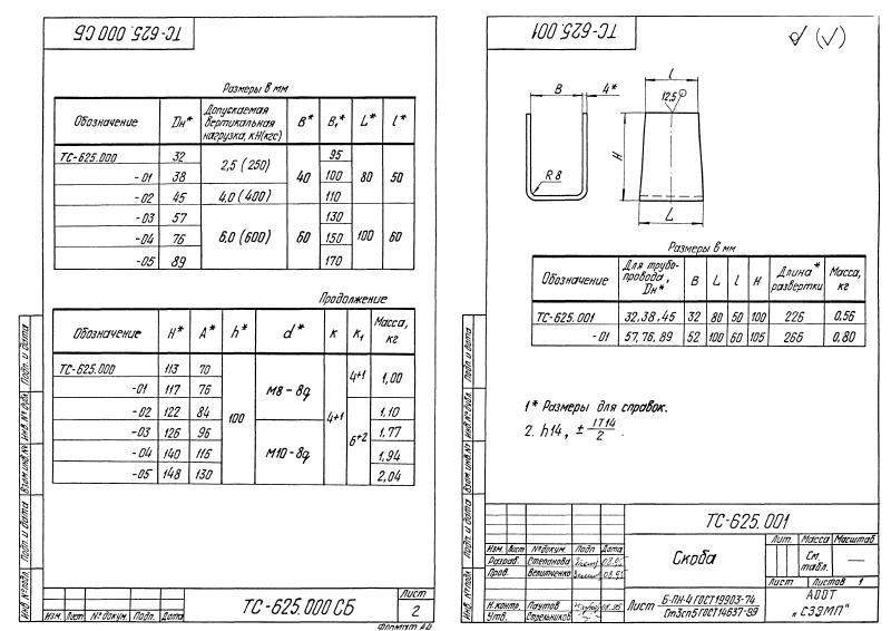 Техническая документация опор скользящих хомутовых приварных ТС-625